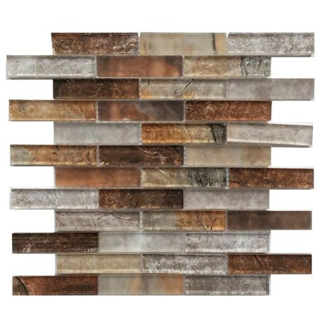 shop bestview grey umber 12 in x 12 in glass linear mosaic