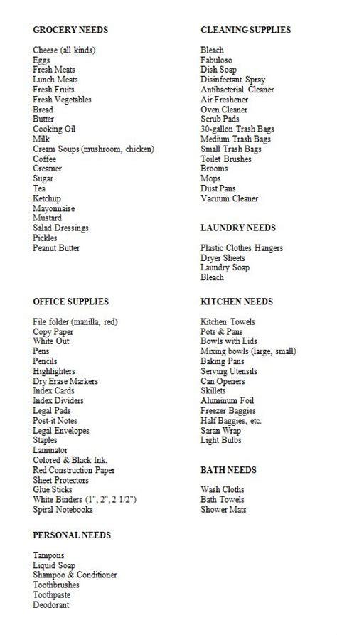 kitchen needs list donations