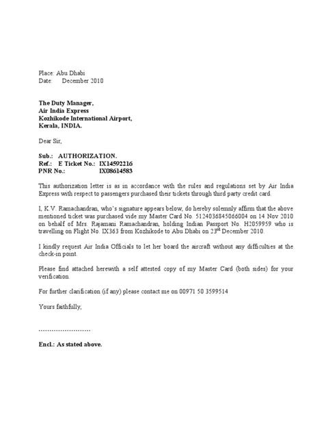 authorization letter for credit card air ticket air india express authorization letter to air india