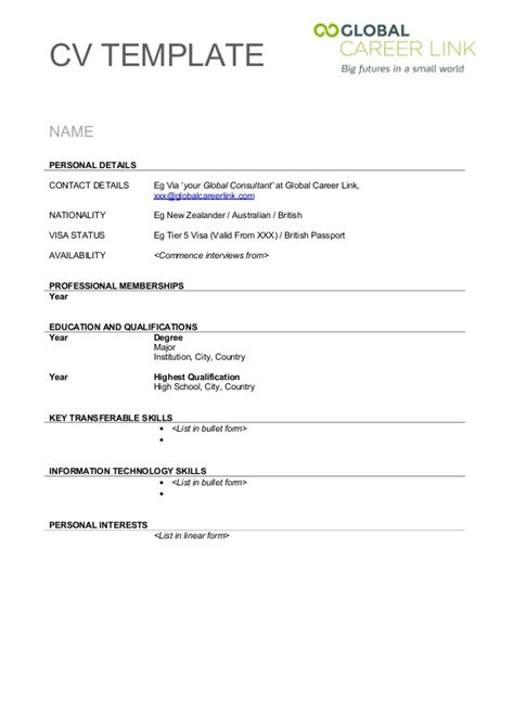 Cv Template Uk 15 Year Cv Template