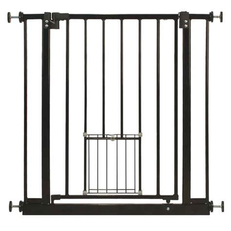 gate with cat door barkshire metal pet gate with cat flap ebay