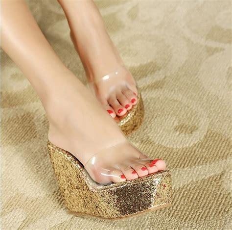 Sepatu Wedges Md19 Putih 29 emas putih musim panas bling transparan ultra high heels wedges sepatu sandal