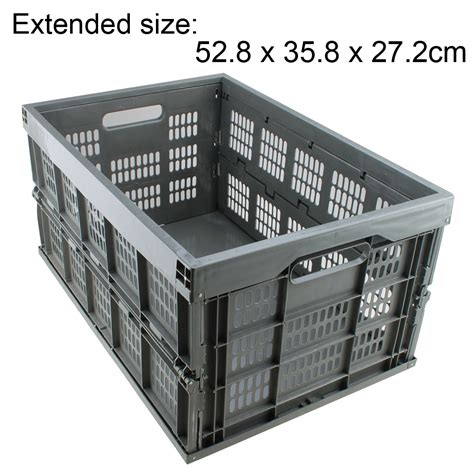 collapsible plastic storage crate bins stack fold basket