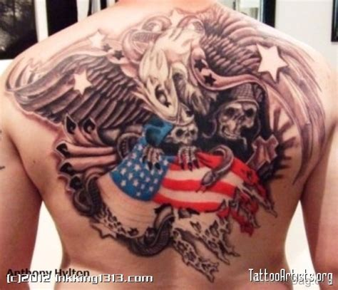 american flag back tattoos 60 impressive eagle tattoos on back