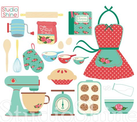 Retro Baking Cooking Digital Clipart Set Clip Art PNG Vector