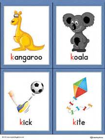 color that begins with k letter k words and pictures printable cards kangaroo