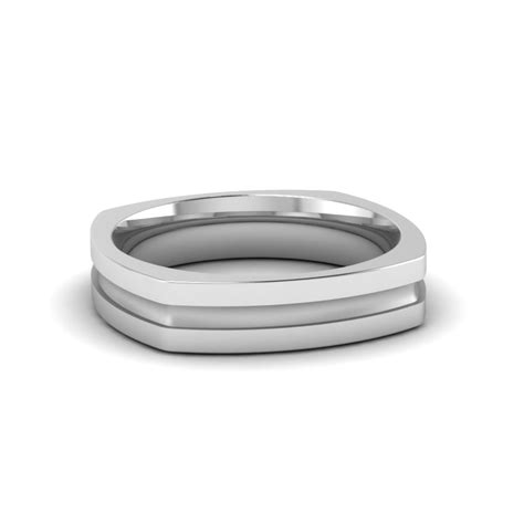 square mens gold mens wedding band comfort fit ring in 950