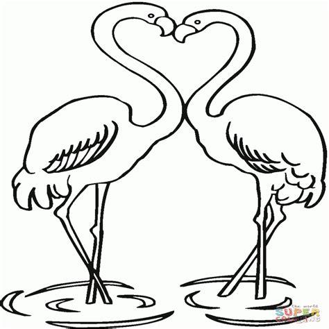 imagenes para colorear dibujo de pareja de flamencos para colorear dibujos para