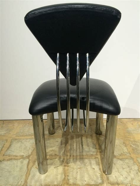 Leather And Steel Dining Chairs Set Of Ten American Post Modern Leather And Steel Dining