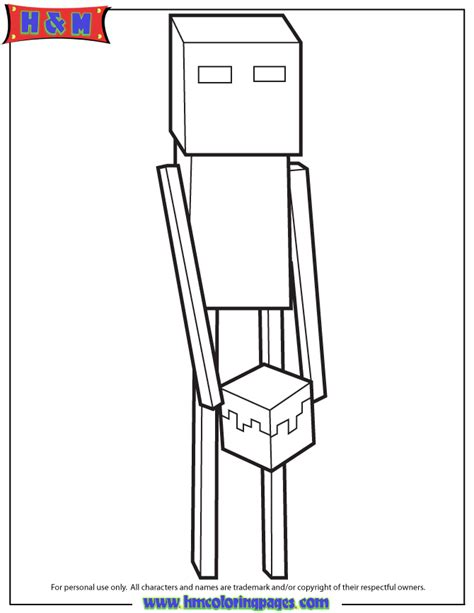 minecraft block coloring page endermen holding block coloring page minecraft coloring