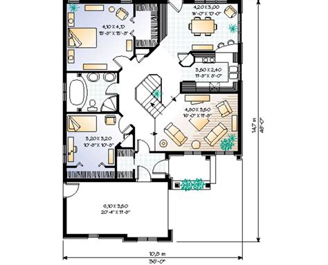 European Style House Plan 2 Beds 1 Baths 1250 Sq Ft Plan 1250 Sq Ft House Plans