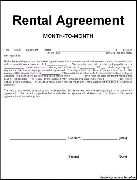 Efficient Sle Of Month To Month Rental Agreement Template With Blank Information Fill Also Rental Policy Template