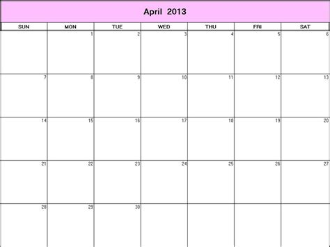April 2013 Calendar 8 Best Images Of April Printable Calendar 2013 Monthly