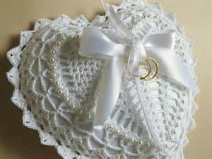 white heart shaped crocheted lace ring bearer pillow