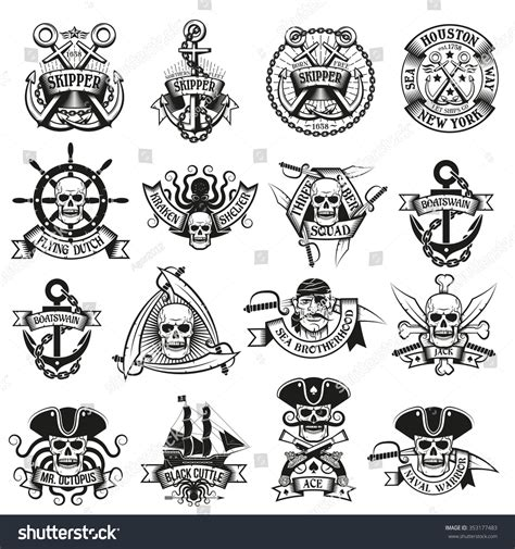 collection pirate tattoos skulls swords belts stock