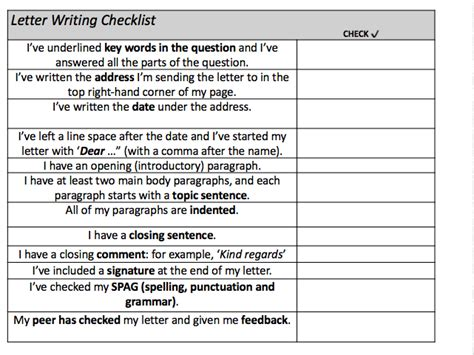 key features of the layout of a letter letter writing checklist by pmandalia teaching resources