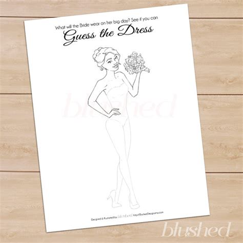 design wedding clothes games unique bridal shower game guess the dress printable