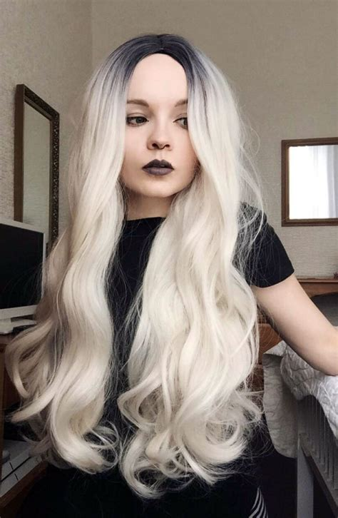 night blonde lush wigs black blonde roots ombre dip angelique lush wigs long dip dye white blonde dark