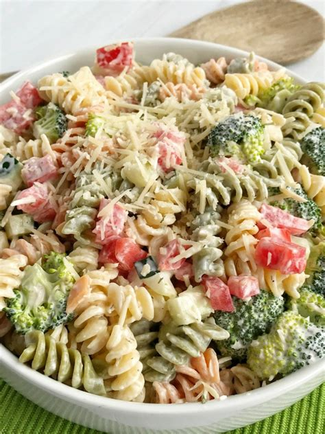 pasta salat ranch pasta salad together as family
