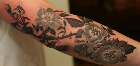 grey tattoo black and grey flowers by remis tattoonow