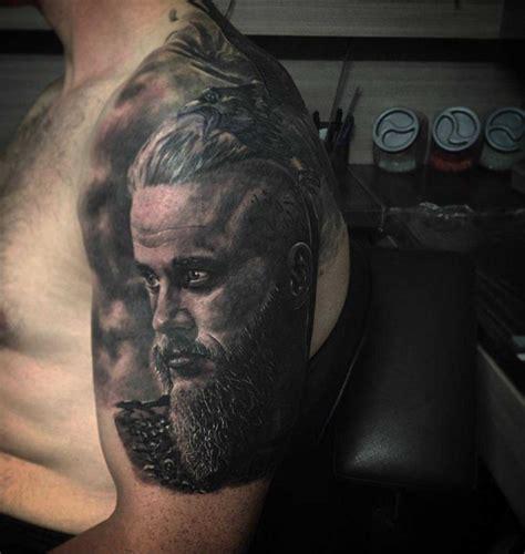 ragnar tattoo on side of ragnars on vikings
