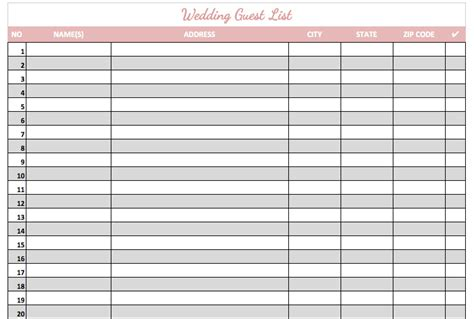 Sle Wedding Guest List Spreadsheet by Best Wedding Guest List Template 28 Images 5 Best