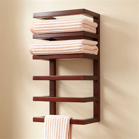 Mahogany Hanging Towel Rack Towel Holders Bathroom Bathroom Towel Racks Shelves
