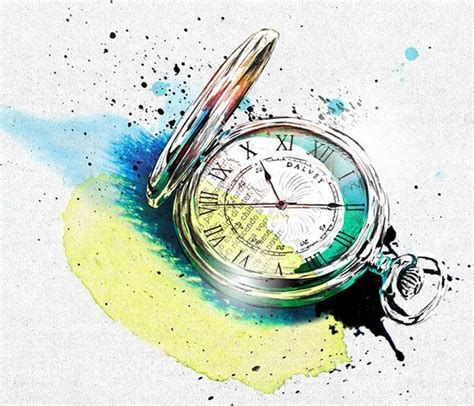watercolor tattoo watch broken pocket illustration www imgkid the