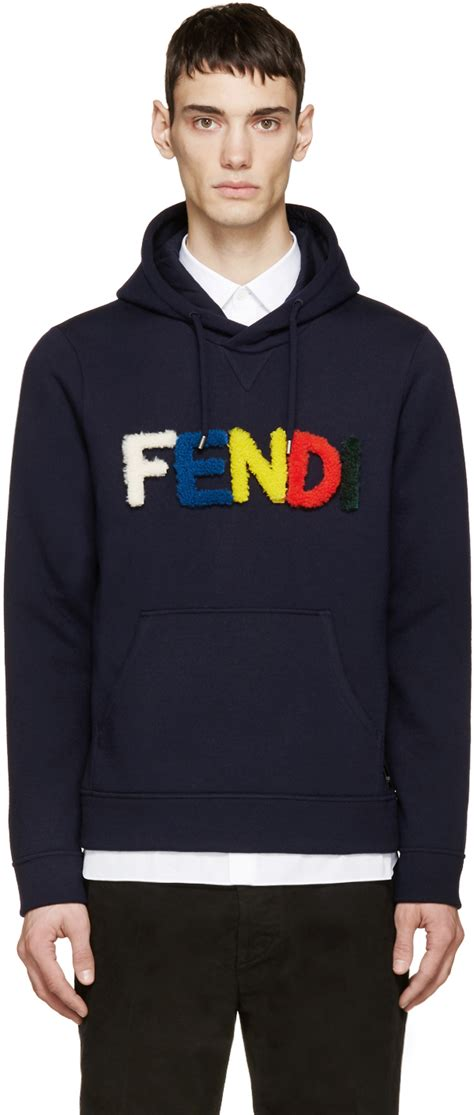 Sweater Hoodie Honda Navy lyst fendi navy shearling velcro logo hoodie in blue for