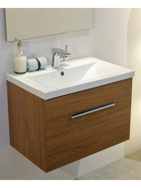 Slimline Wall Hung Vanity Unit by Walnut Slimline 50cm Wall Hung Vanity Unit