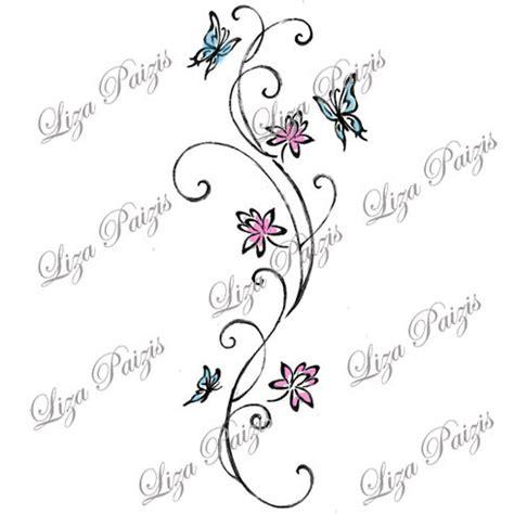 tatuaggi tribali con fiori e farfalle vine con fiori di loto e farfalle con turbinii di