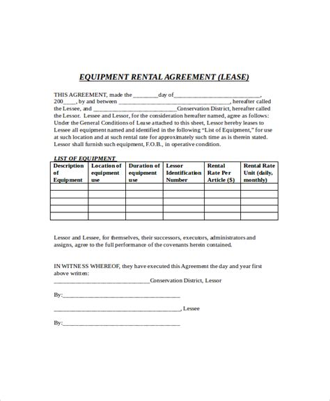 equipment rental lease agreement template 8 rental lease templates free sle exle format