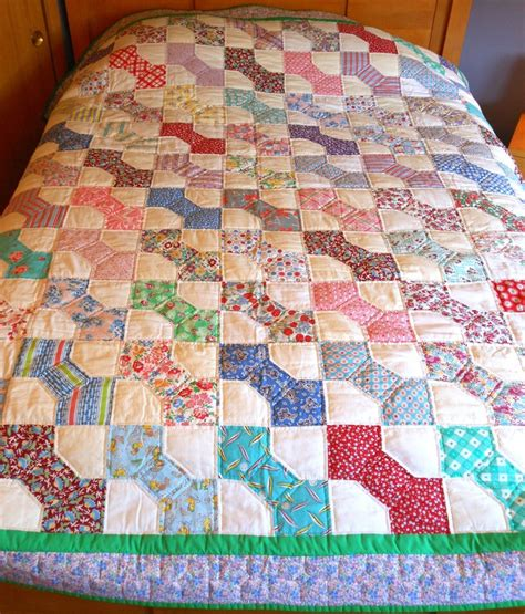 Bowtie Quilt Pattern by Vintage 1930 S Feed Sacks Quilted Bound Bow Tie Patterned Quilt