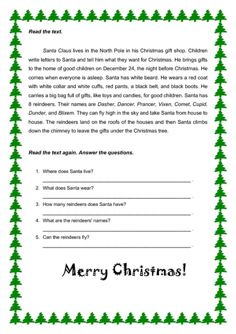free christmas printable worksheets reading comprehension christmas comprehension worksheets worksheets tataiza