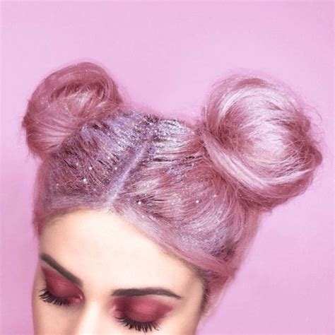 diy grunge hairstyles glitter roots and space buns tumblr