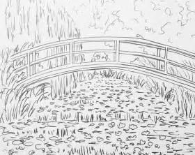 monet coloring pages monet bridge waterlilies pond traceable