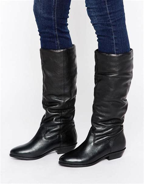 office hazel slouch flat leather knee boots in black lyst