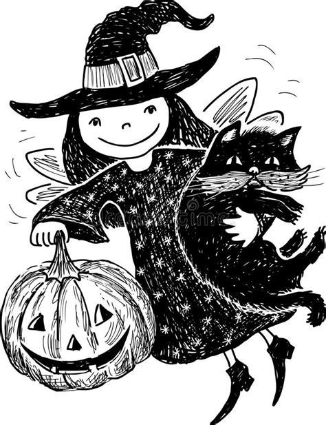 Menina e gatinho - bw ilustração do vetor. Ilustração de
