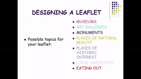 leaflet writing layout designing a leaflet for a tourist information centre youtube