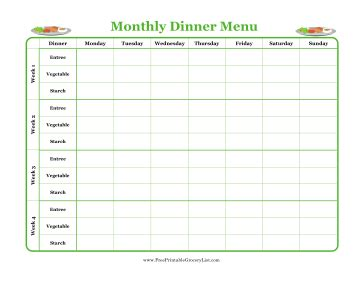 monthly food menu template printable monthly dinner menu planner