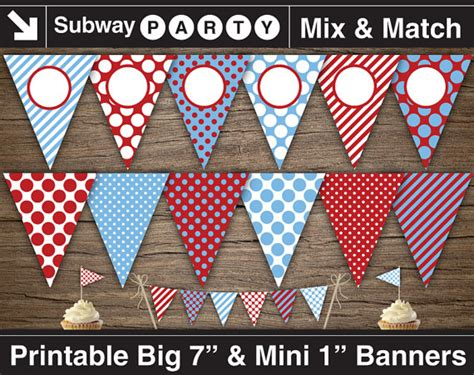 printable mini banner blue and red train party printable banner mini cake bunting