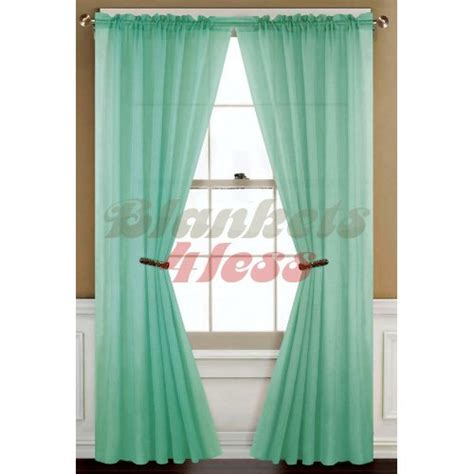 Mint Green Curtains Mint Green Solid 2 Voile Sheer Window Curtain Panels Window Treatment Curtains