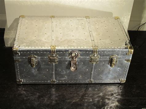 1930s polished steel travel trunk coffee table trunks