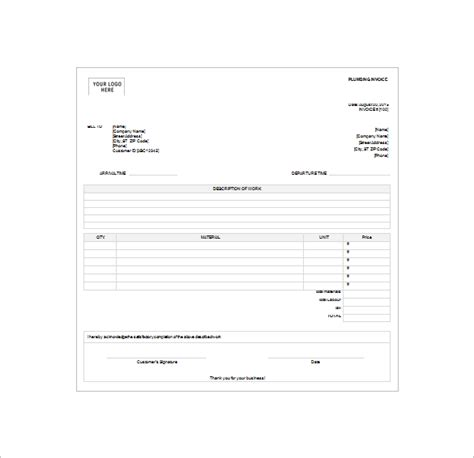 free plumbing receipt template 4 plumbing receipt templates doc pdf excel free