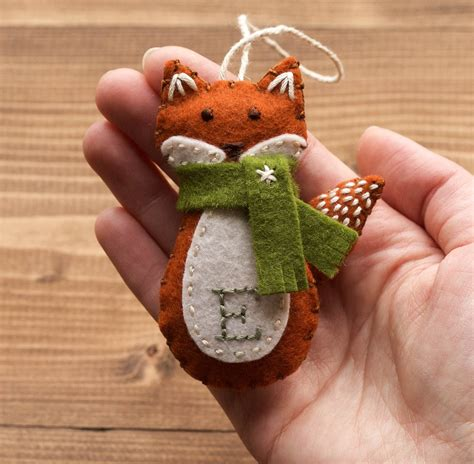 personalized red fox christmas ornament felt fox new baby