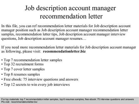 Recommendation Letter With Description Description Account Manager Recommendation Letter