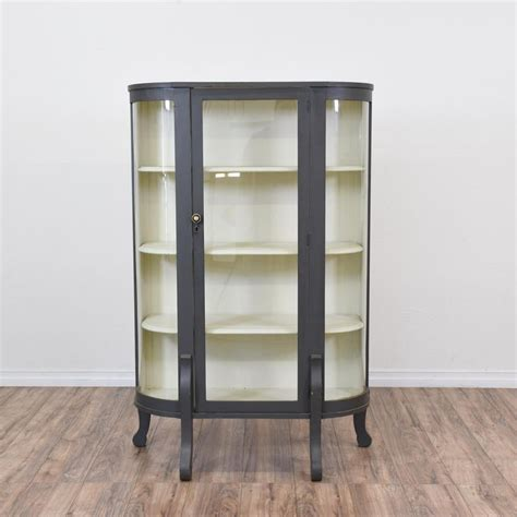 Gray Corner Curio Cabinet Gray Blue Curved Glass Curio Cabinet Blue Gray Paint