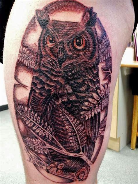 animal tattoo writing owl animal greyshade tattoo thigh piece huge 5 hours amber