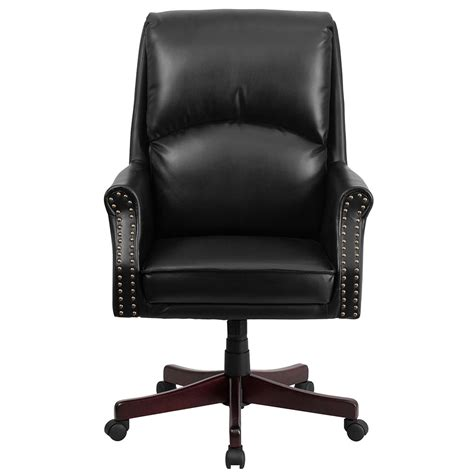 black swivel office chair high back pillow back black leather executive swivel