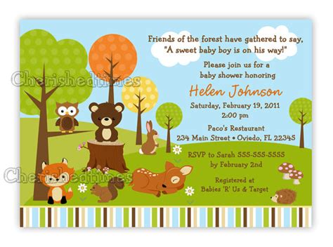 theme line forest friend woodland forest friends animals baby shower invitation you
